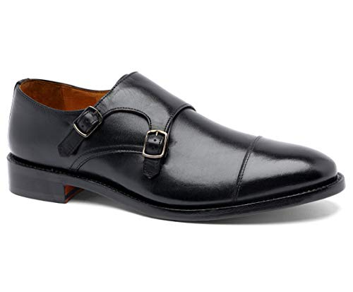 Anthony Veer Mens Roosevelt II Oxford Double Monk Strap Leather Shoe in Goodyear Welted Construction (13 D, Black)