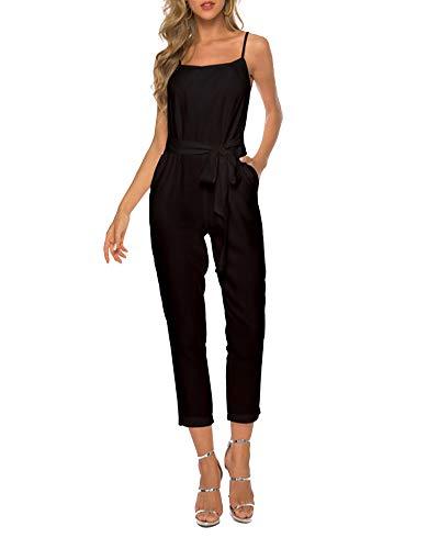 Damen Latzhose Loose Tasche Einfarbig Jumpsuits Ärmellos Hohe Taille Overall Schwarz 2XL