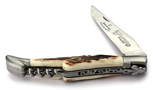 LAGUIOLE en Aubrac Taschenmesser mit Korkenzieher L0312BCIF 12 cm, Griffschalen Hirschhorn, Klinge 10 cm matt, Backen matt