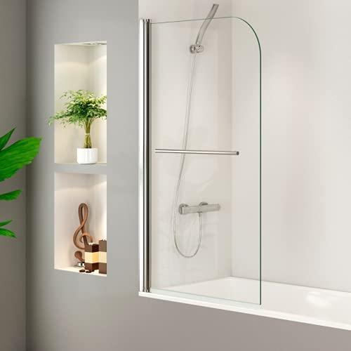 Mampara Bañera Puerta Abatible con Toallero Cristal Templado 5mm Transparente 85x140cm