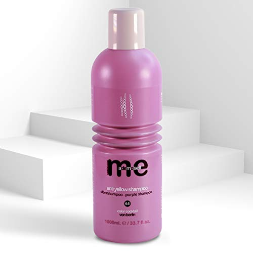 MeMademoiselle No Yellow Shampoo für blonde, blondierte und graue Haare gegen Gelbstich I veganes Silbershampoo I Purple Shampoo ohne Silikone I Made in Germany (1000 ml)