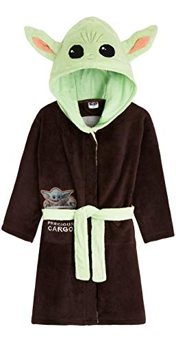 Star Wars Baby Yoda Kids Bademantel The Mandalorian The Child Boys Robe Gr. 13 - 14 Jahre, braun/grün