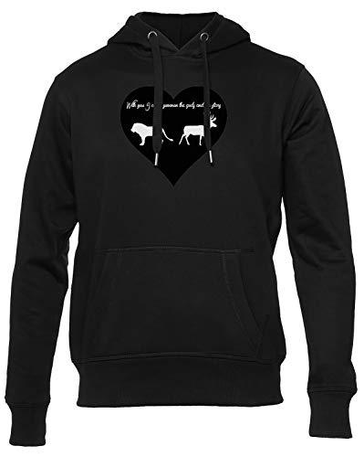 Dearest Deer Hearts Sudadera con Capucha Hombre Mujer Unisex Negra Hoodie Men's Women's Black