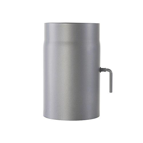Ofenrohr Senotherm® mit Drosselklappe Wandstärke 2 mm Ø 150 hitzebeständig lackiert - Rauchrohr, Kaminrohr gussgrau - für Kaminöfen - Länge: 500 mm