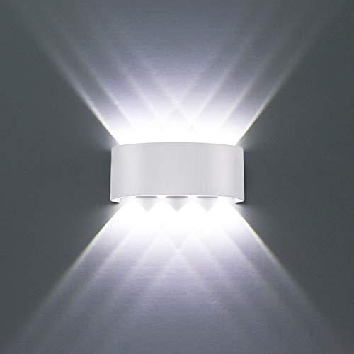 Wandleuchte Innen Modern Weiß 8W LED Wandlampe Aluminium IP65 Wasserdichte Up und Down Wandleuchten Spot Light Kalt Weiß 6000K für Badezimmer, Wohnzimmer, Schlafzimmer, Flur