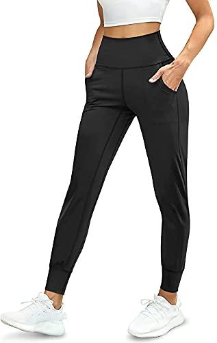 Leggings de deporte para mujer, pantalones de yoga de cintura alta con bolsillos, pantalones de jogging Push Up para fitness, gimnasio, Butt Lift Negro L