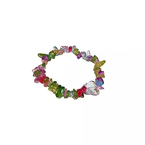 QiuYueShangMao Pulsera Pulsera Bohemia con Encanto de Piedras Irregulares arcoíris Bonitas para Mujer, Pulseras elásticas Coloridas, Accesorios de Playa de Verano Pulsera de la Amistad