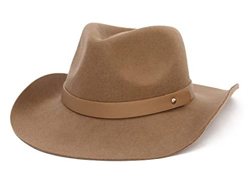 GEMVIE Sombrero Fedora de Fieltro de Lana para Hombres Sombrero de Caballero Sombrero de Vestir