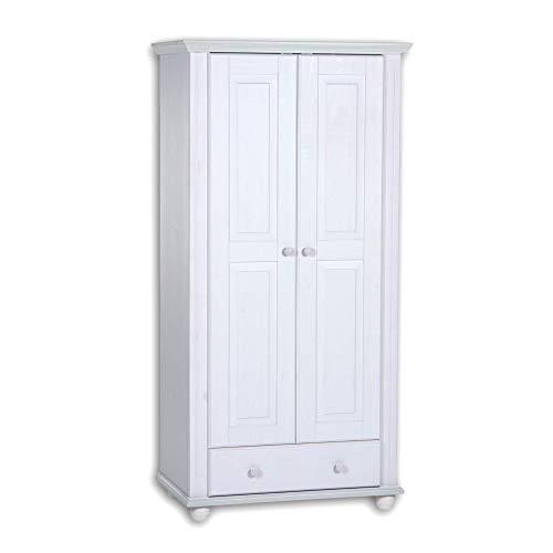 Stella Trading LAURA Eleganter Kleiderschrank Babyzimmer 2-türig - Vielseitiger Drehtürenschrank mit viel Stauraum in Kiefer massiv, weiß - 96 x 186 x 56 cm (B/H/T)
