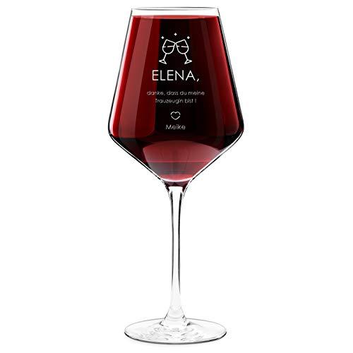 Murrano Weinglas mit Gravur - 490 ml - personalisiert - Rotweinglas Weißweinglas - Geschenk Geburtstagsgeschenk für Frauen - Trauzeugin
