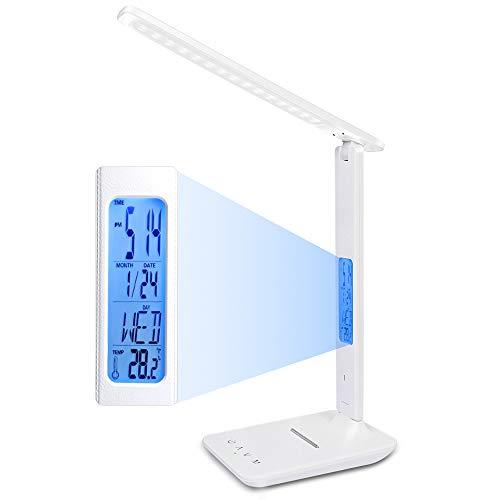 ERAY Lámpara LED Escritorio Lámpara de Mesa, 3 Modos de Luz y 5 Intensidades, Pantalla LCD (Reloj, Temperatura, Calendario), Soporte para Teléfono, Protección de la Vista, Control Táctil, Color Blanco
