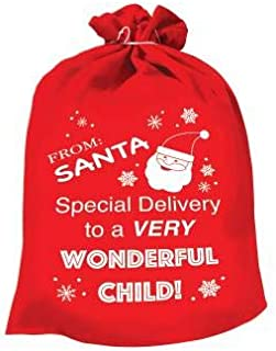 Large Festive Special Delivery from Santa Red Cloth Gift Sack - 25 x 32 inches