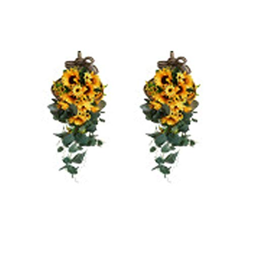 AK-XING Artificial Sunflower Swag Wall Hanging Teardrop Sunflower Wreath Artificial Sunflower Flowers Door Hanging Wreath for Wall Wedding Decoration