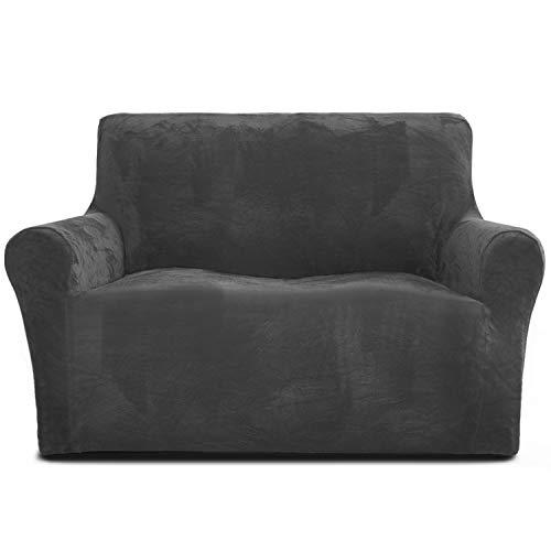 Rose Home Fashion Sofabezug für 2 Sitzer, 1 Stück Elastischer Sofaüberwurf Samt-Optisch, Couch Überzug, Sofa Überzug, Geeignet für Loveseat mit Einer Länge von 119-173 cm, Dunkelgrau