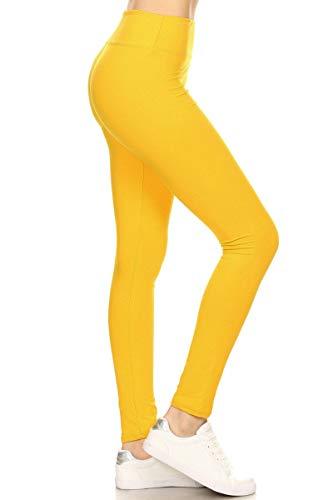 LYX128-YELLOW Yoga Solid Leggings, Plus Size