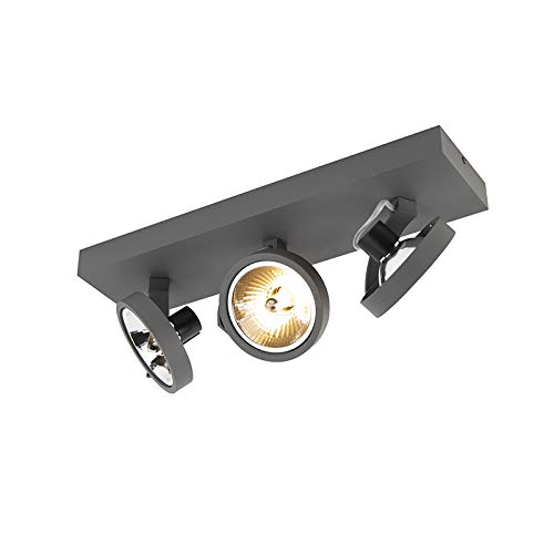 QAZQA - Design Spot   Spotlight   Deckenspot   Deckenstrahler   Strahler   Lampe   Leuchte verstellbar 3-flammig Spotbalken-Licht inkl. LED - Go   Wohnzimmer   Schlafzimmer   Küche - Aluminium Rechtec