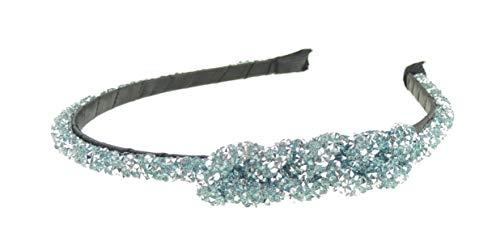 Glamour Girlz Haarreif für Damen, mit Kristall-Strasssteinen, schmal, Blau / silberfarben