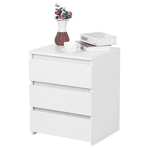 Cikonielf Comodino Moderno Bianco con 3 cassetti per la Camera da Letto 45x38,2x56 cm per Camera da Letto familiare,Soggiorno e Bagno