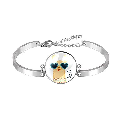 Pulseras para mujeres y niñas de acero inoxidable Dainty Link pulsera ajustable brazalete de dibujos animados Alpaca gafas de sol Hola