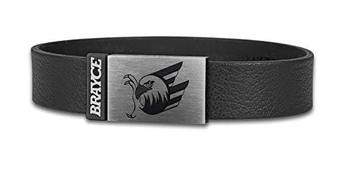 BRAYCE® Adler Mannheim Armband aus Leder mit Logo Gravur I Lederarmband mit Veredelung & Eishockey pur (22cm)