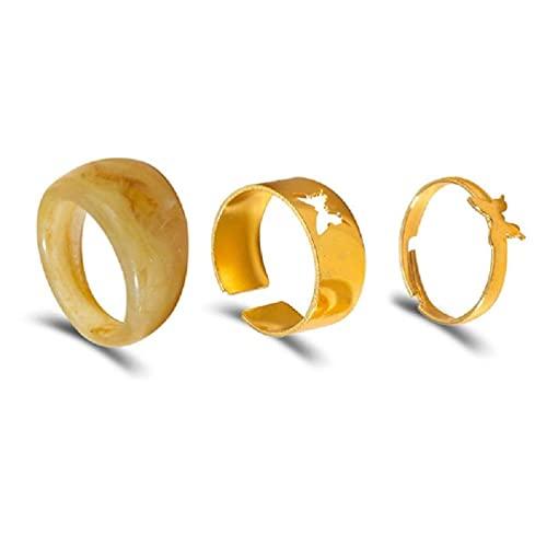 goodluccoy Anillos de Mariposa de Oro de Moda para Mujeres Hombres Amantes Pareja Anillos Conjunto Amistad Compromiso Boda Anillos Abiertos 2021 joyería Anillos Huecos para Resina