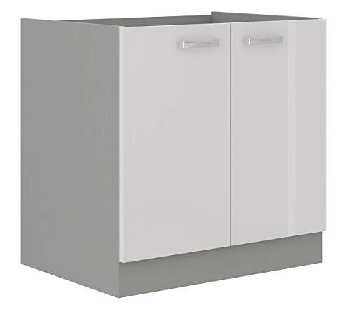 Spülen Unterschrank 80 cm Bianca Weiss Hochglanz + Grau Küchenzeile Küchenblock