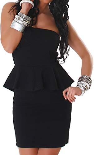 Jela London Damen Peplum Schößchen Bandeau Mini-Kleid Stretch Schulterfrei Musterung Party Cocktail Trägerlos, Schwarz SM 32 34