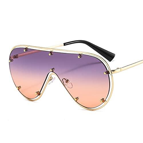 FEINENGSHUAInstyj Gafas Sol Mujer, Forme Gafas de Sol ovaladas de Gran tamaño Femenino Retro Espejo Remache Gafas de Sol Gafas de conducción (Lenses Color : Purple Pink)