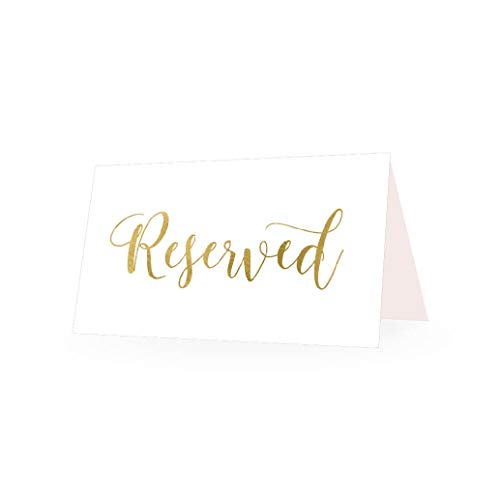 25 Gold VIP Reserved Sign Tent Place Cards For Table at Restaurant, Wedding Reception, Church, Business Office Board Meeting, Holiday Christmas Party, Printed Seating Reservation Accessories DIY Seat