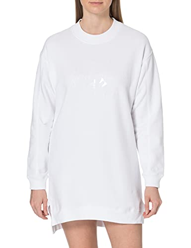 Calvin Klein Jeans Tonal Monogram HWK Dress Vestido, Blanco Brillante, M para Mujer