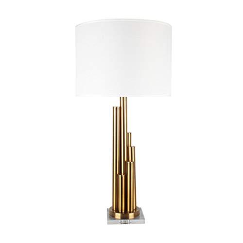 Tafellamp met pijler van koper imitatie goud lampenkap van stof stof lamp van smeedijzer, antislip, op de bodem van de ondervloer, bureaulamp voor slaapkamer