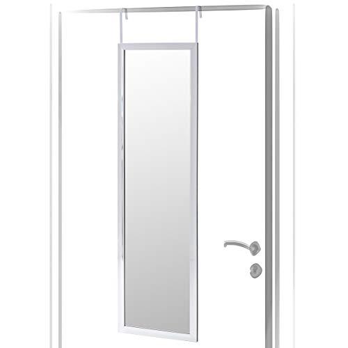 Espejo de Puerta Moderno Plateado de plástico para Dormitorio de 35 x 125 cm. Arabia - LOLAhome