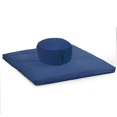 Medi-Set Basic I: Meditationskissen RONDO BASIC (Dinkel) und Meditationsmatte ZABUTON BASIC, dunkelblau, Meditationsset, Meditationszubehör, Meditationsunterlage 80 x 80cm,