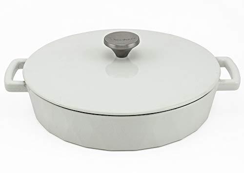 HearthStone Cookware Diamond Cocotte basse en fonte émaillée Blanc 28 cm 3,8 l Pour toutes les surfaces y compris l'induction et le four