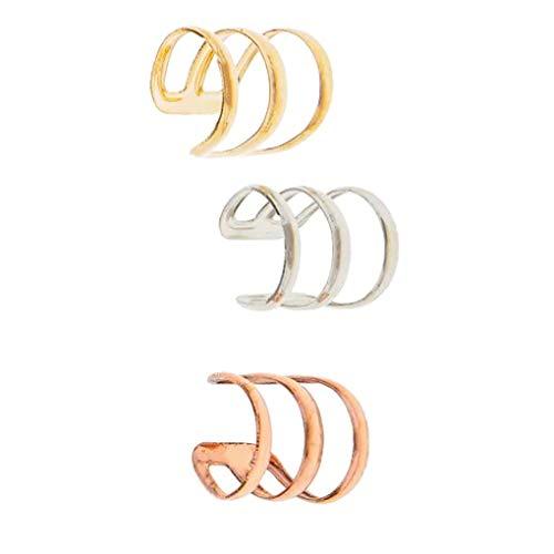 ZYElroy 3pcs aleación en Forma de U Clips para Las Orejas no Hay perforación del cartílago del oído del Pendiente de Las Mujeres del Manguito Hombre Suministros