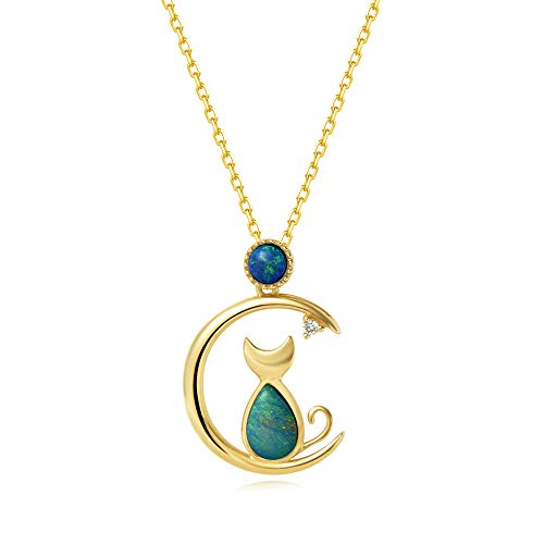 18K Solid Yellow Gold Diamond Real Genuine Natural Fire Opal Cat and Moon
