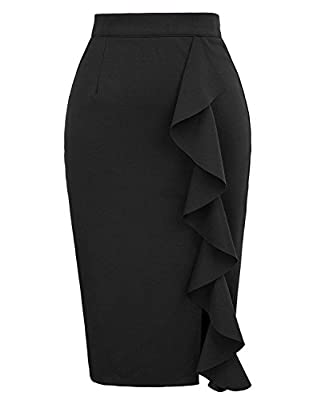 Chiczone Women's Ruffle Bodycon Knee Length Midi Pencil Skirt