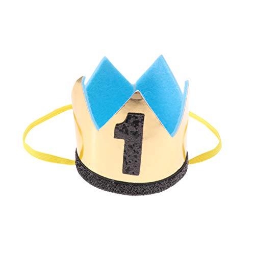 Toyvian bebé 1 Sombrero de cumpleaños Corona número 1 Diadema Pastel Smash Foto Prop Baby Boy