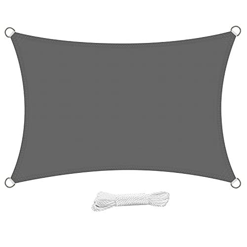 swift Toldo Vela de Sombra Rectangular 3x4 Metro PES Impermeable Protección Rayos UV 4x3 m para Patio Exteriores Jardín, Color Gris