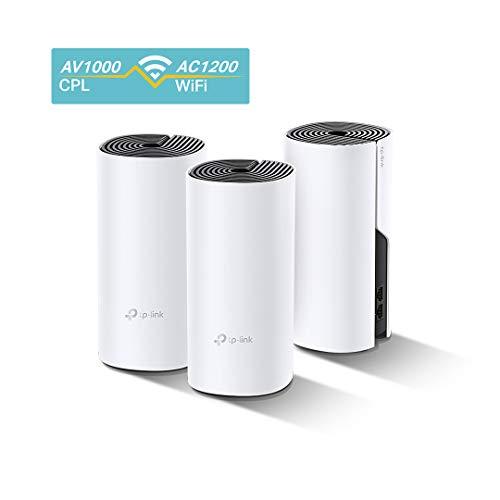 TP-Link Deco P9(3-pack) Système Hybride WiFi Mesh avec CPL 1000Mbps pour toute la maison - Couverture WiFi de 560m2 - Installation Facile - Contrôle parental - Idéale pour grande maison de murs épais
