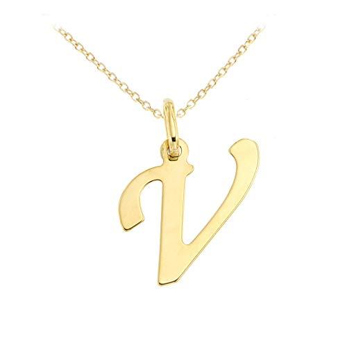 Forme di Lucchetta für Damen – Kette mit Anhänger Buchstabe V Initiale Name aus 9 Karat Gelbgold – Goldkette 45 cm