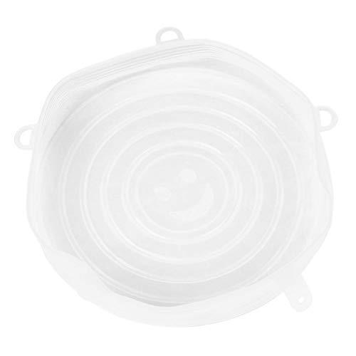 Demiawaking Couvercles en Silicone Couvertures Fraîches Réutilisable écologique 6pcs Universel Casserole Couvercle Stretch Bol Couvercle Nourriture Fraîche Saver Couvertures (Blanc 25 * 3.1cm)