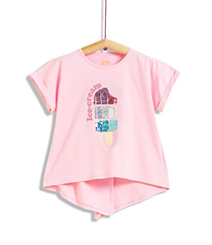 Camiseta de Manga Corta para niña con Lentejuelas Reversibles (3-4)
