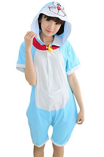 YAOMEI Adulto Unisexo Onesies Kigurumi Pijamas Verano, Mujer Hombres Traje Disfraz Animales Mangas Cortas, Ropa de Dormir Halloween Cosplay Navidad de Vestuario (S, Doraemon)