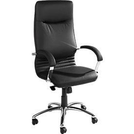 NOWY STYL Chefsessel Nova in Echtleder mit Armlehnen Bürostuhl Bürosessel Schwarz