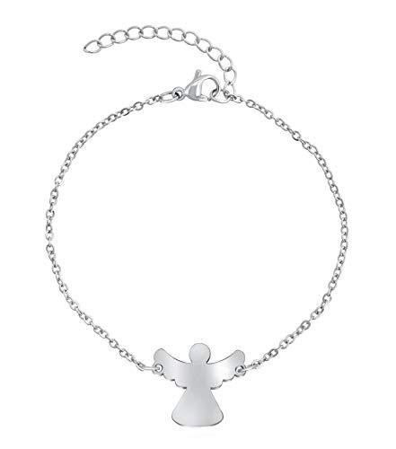 Nuoli® Schutzengel Armband Damen Silber (15 + 5cm verstellbar) Engel Armkette für Frauen & Mädchen, aus poliertem Edelstahl, in Silber und Rosegold erhältlich