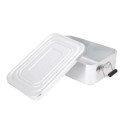 RiToEasysports Recipientes de Almuerzo rectangulares a Prueba de Fugas de Aluminio Bento Box con Hebilla Enrollable para Viajes de Picnic Familiares(Plata)