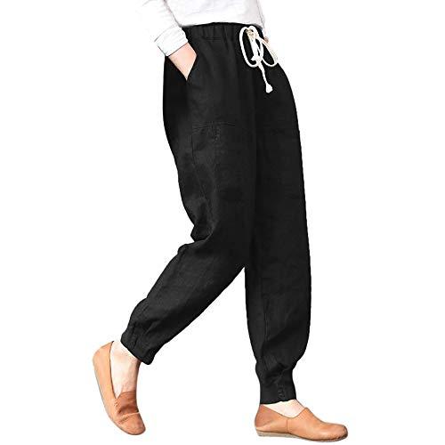 Paolian Pantalon décontracté de Couleur Unie pour Femmes en Lin, Pantalon Harlan(S/M/L/XL/XXL/XXXL/XXXXL/XXXXXL) (M, Noir B)