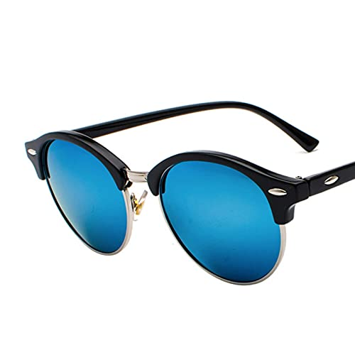 Gafas De Sol Tr90 Vintage Gafas De Sol Polarizadas Mujeres Retro Gafas De Sol Redondas Hombres Uv400 Gafas De Sol Antirreflejo para Hombres-Gold-Mirror Blue
