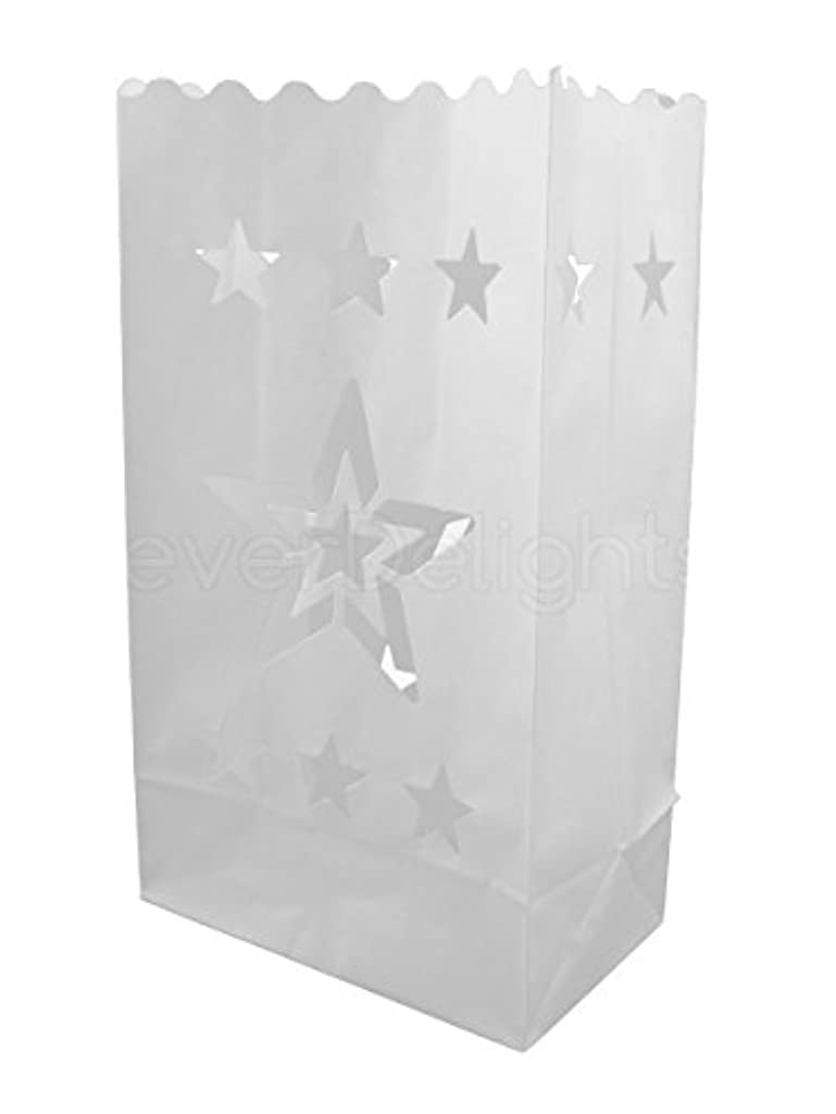 CleverDelights White Luminary Bags - 30 Count - Star Design - Flame Resistant Paper - Wedding, Reception, Party and Event Decor - Luminaria Candle Bag